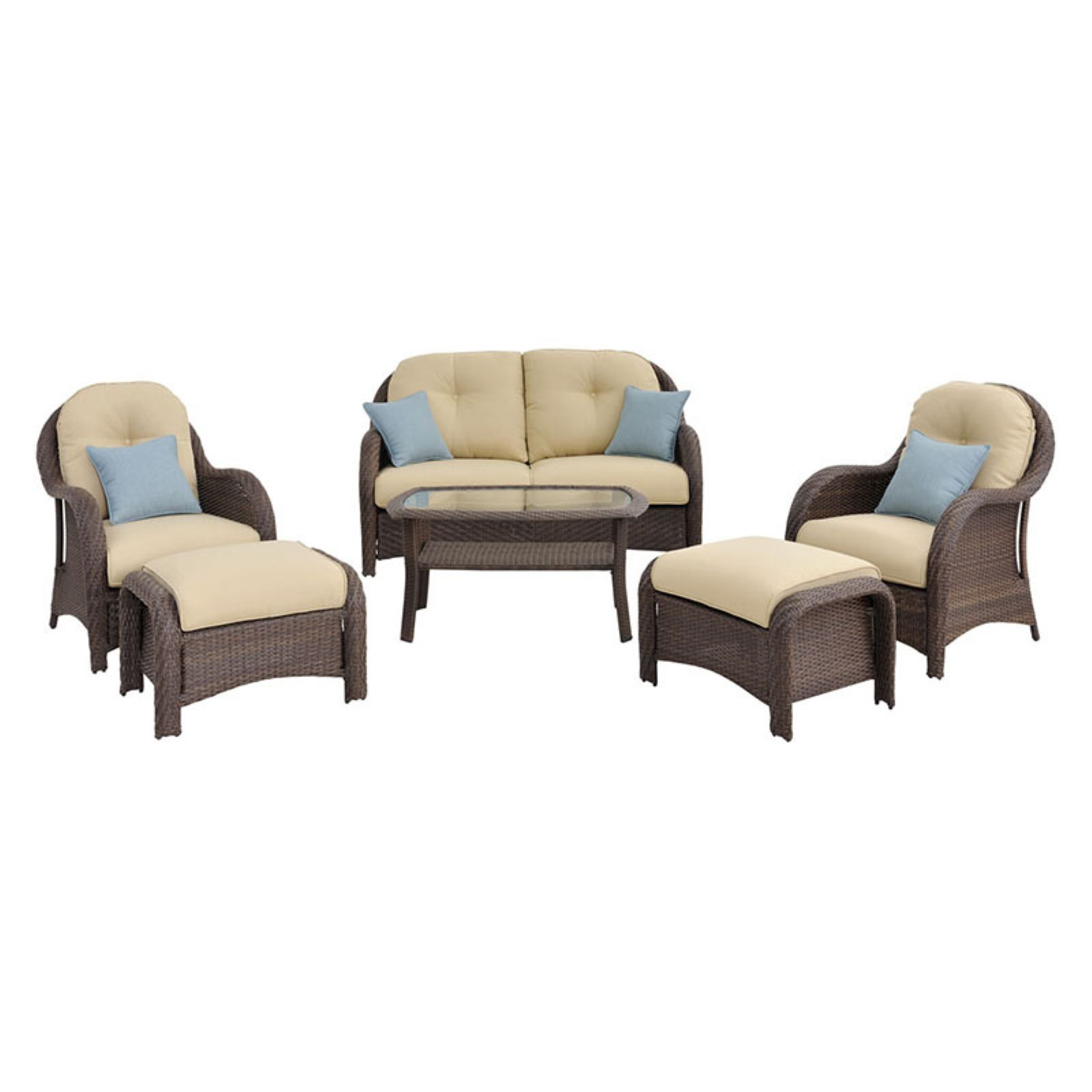 Hanover Newport 6-Piece Outdoor Wicker Lounge Set by Hanover Outdoor Furniture
