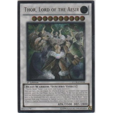 Ragnarok Single Card - Yu-Gi-Oh! - Thor, Lord of the Aesir (STOR-EN038) - Storm of Ragnarok - 1st Edition - Ultimate Rare, A single individual card from the Yu-Gi-Oh! trading and.., By YuGiOh