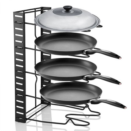 EECOO Stainless Steel Dish Rack Kitchen Pot Pan Lid Cutting Board Adjustable Organizer Holder for Cabinet and Pantry Storage Organization, 5 Compartments