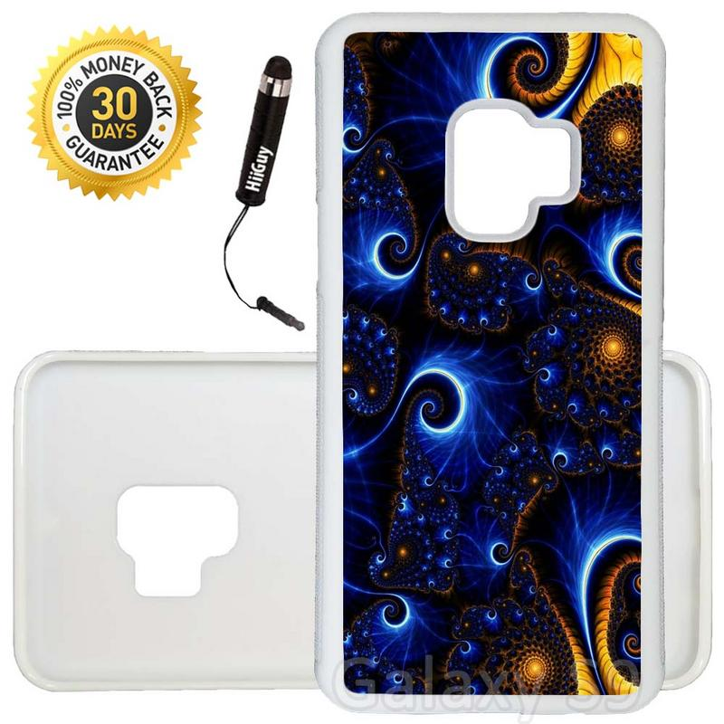Custom Galaxy S9 Case (Abstract Blue Yellow Spiral) Edge-to-Edge Rubber White Cover Ultra Slim | Lightweight | Includes Stylus Pen by Innosub