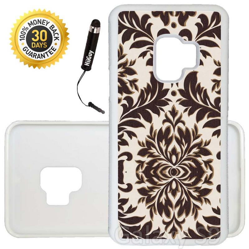 Custom Galaxy S9 Case (Brown Damask Flower) Edge-to-Edge Rubber White Cover Ultra Slim | Lightweight | Includes Stylus Pen by Innosub