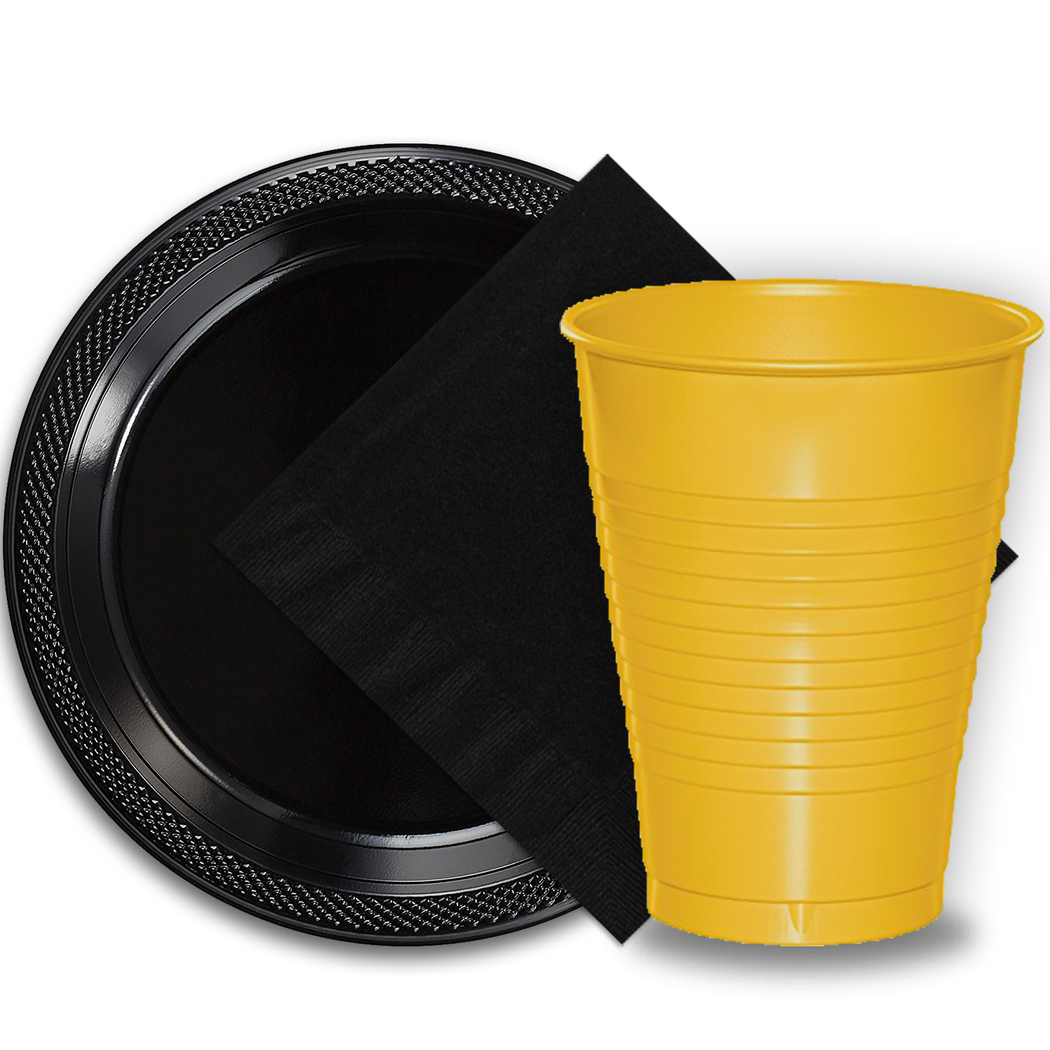 """50 Black Plastic Plates (9""""), 50 Yellow Plastic Cups (12 oz.), and 50 Black Paper Napkins, Dazzelling Colored Disposable Party Supplies Tableware Set for Fifty Guests."""