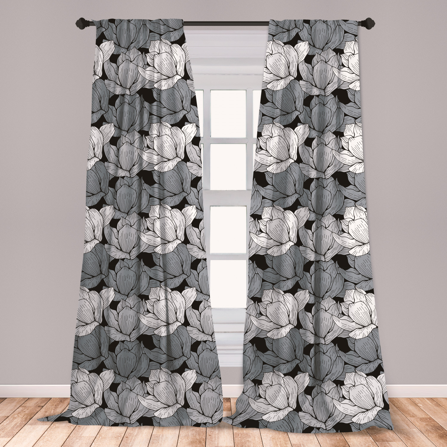 Floral Black And Grey Nature Tattoo: Black And Grey Curtains 2 Panels Set, Floral Arrangement