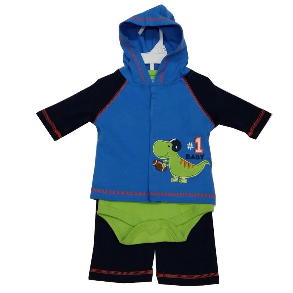 Image of Bon Bebe Baby Boys Green Navy Dino Baseball Hooded Top Bodysuit 3 Pc Pant Set 3-9M