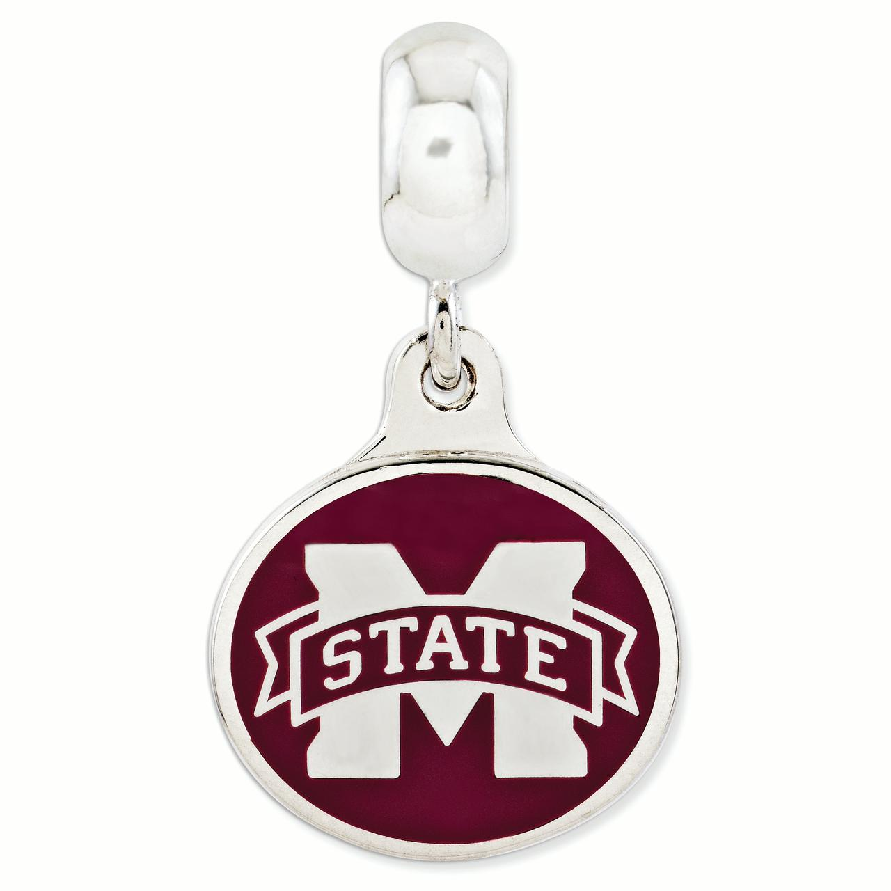 Sterling Silver Mississippi State Collegiate Enameled Dangle Bead
