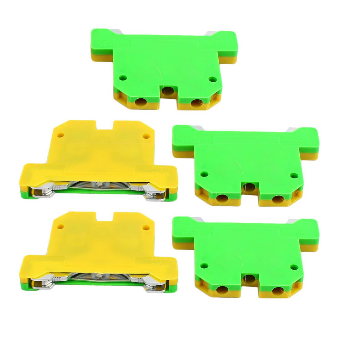 5Pcs 58x40x6.5mm 4mm2 Wire 800V Grounding Terminal Block Yellow Green