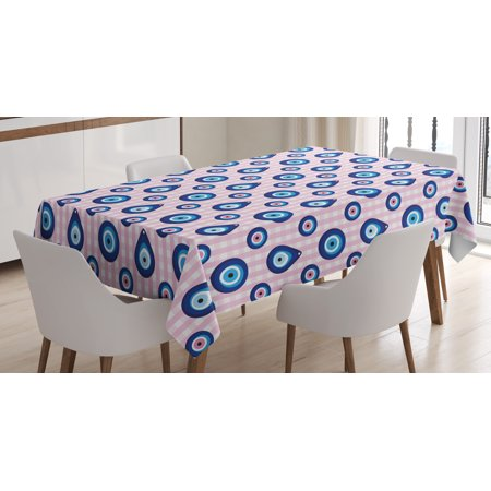 Evil Eye Tablecloth, Protective Turkish Bead Figures in Different Shapes Checkered Backdrop, Rectangular Table Cover for Dining Room Kitchen, 60 X 90 Inches, Light Pink Blue White, by Ambesonne ()