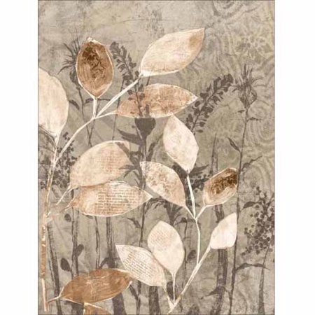 Neutral Texture Botanical Leaves & Buds Nature Painting Tan & Grey Canvas Art by Pied Piper Creative