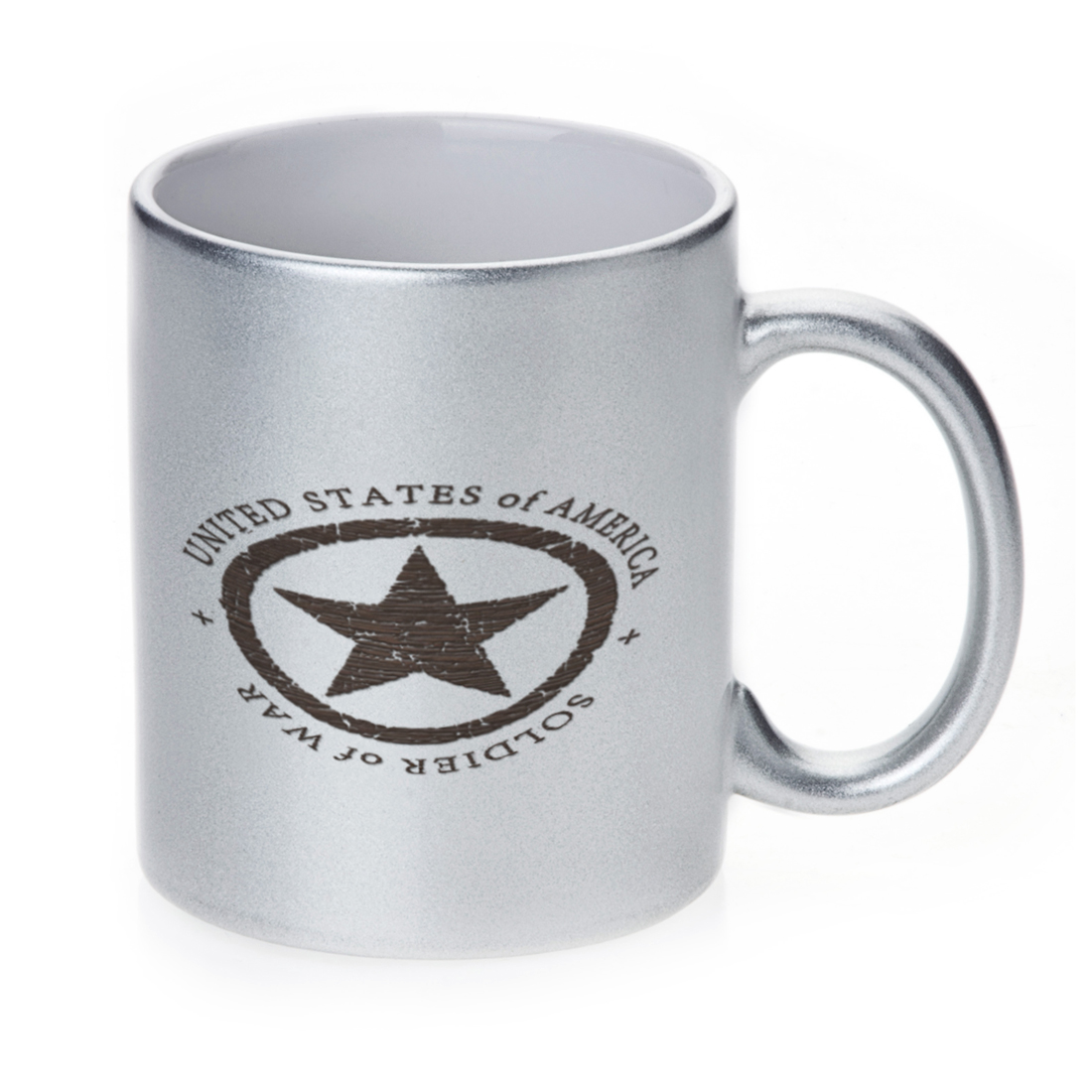 KuzmarK Silver Sparkle Coffee Cup Mug 11 Ounce - Military Soldier Of War Wood Star