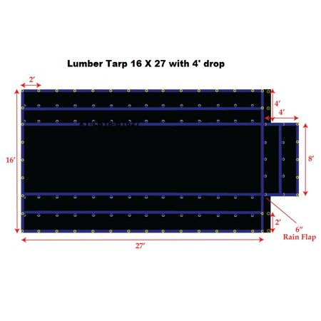 16' x 27' Light Weight Lumber Tarp with 4' Drop, Black Color, 15OZ Gauge, Lighter Weight for Easy Handling, Patchable and Repairable, Made by