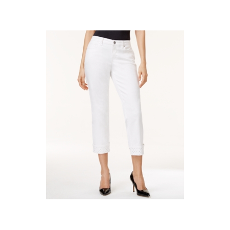 Style & Co.  - Curvy-Fit Rhinestone-Hem Capri Jeans, - Petities - 6 P - WHITE