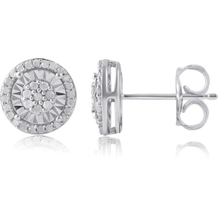 Palm Cluster Earring (1/4 Carat T.W Diamond Miracle Plate Sterling Silver Cluster Stud Earring )