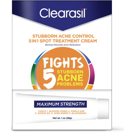 2 Pack - Clearasil Stubborn Acne Control 5in1 Spot Treatment Cream, 1 oz