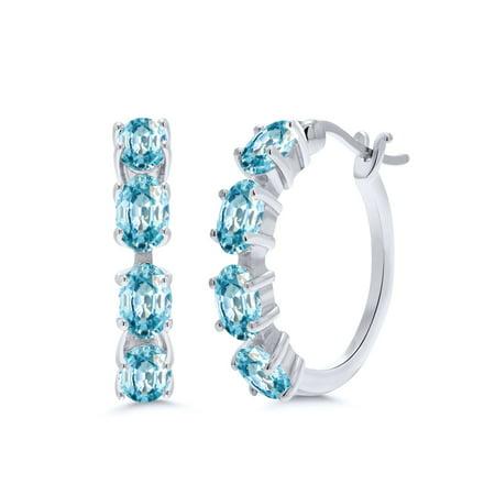 6.00 Ct Oval Blue Zircon 925 Sterling Silver - Sterling Silver Zircon Gemstone