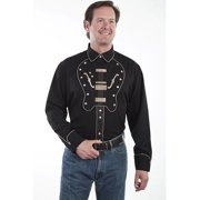 Scully Western Shirt Mens L/S Snap Embroidered Guitar P-690