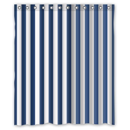 Hellodecor Navy Blue And White Vertical Stripe Shower