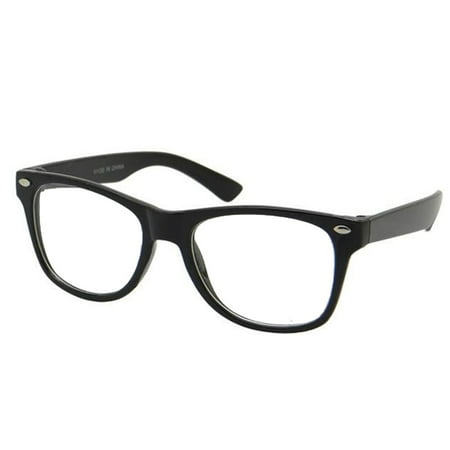 Small KIDS SIZE Retro Color Frame Clear Lens Glasses NERD Costume Fun Boys Girls, Black