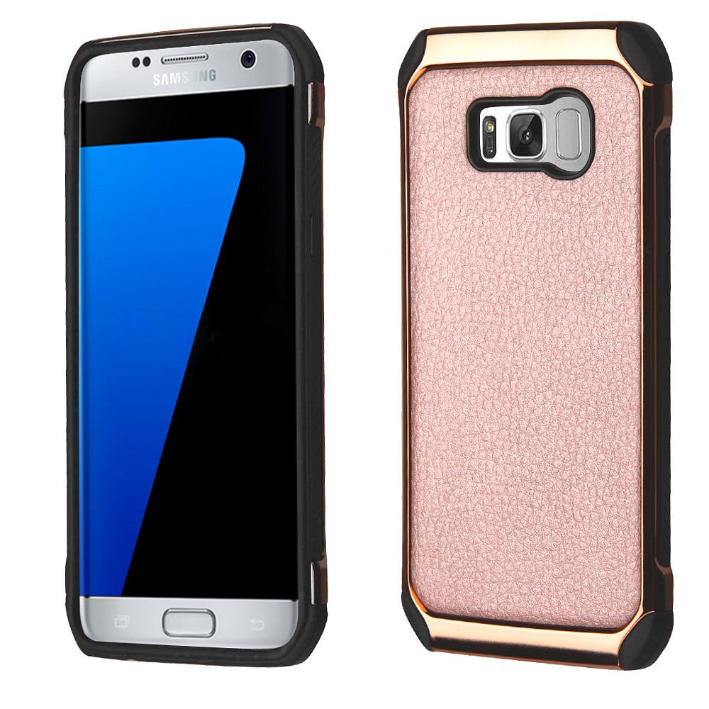 Insten Lychee Grain Plating Astronoot Hybrid Case For Samsung Galaxy S8+ S8 Plus - Rose Gold (+ USB Type C Cable)