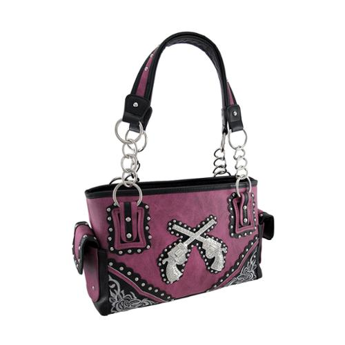 Zeckos - Studded Western Purse with Crossed Rhinestone Revolvers - Purple