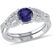 1 Carat T.G.W. Created Blue Sapphire and 1/6 Carat T.W. Diamond 10kt White Gold Infinity Bridal Set