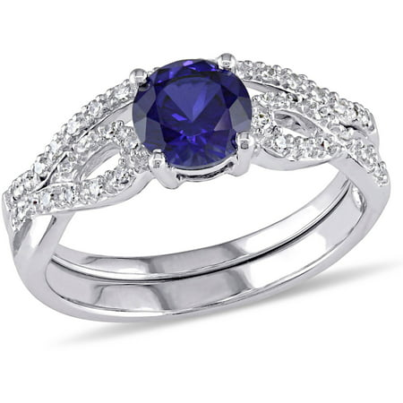 1 Carat T.G.W. Created Blue Sapphire and 1/6 Carat T.W. Diamond 10kt White Gold Infinity Bridal Set 24k Set Ring
