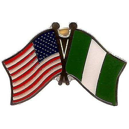PACK of 3 Nigeria & US Crossed Double Flag Lapel Pins, Nigerian & American Friendship Pin Badge
