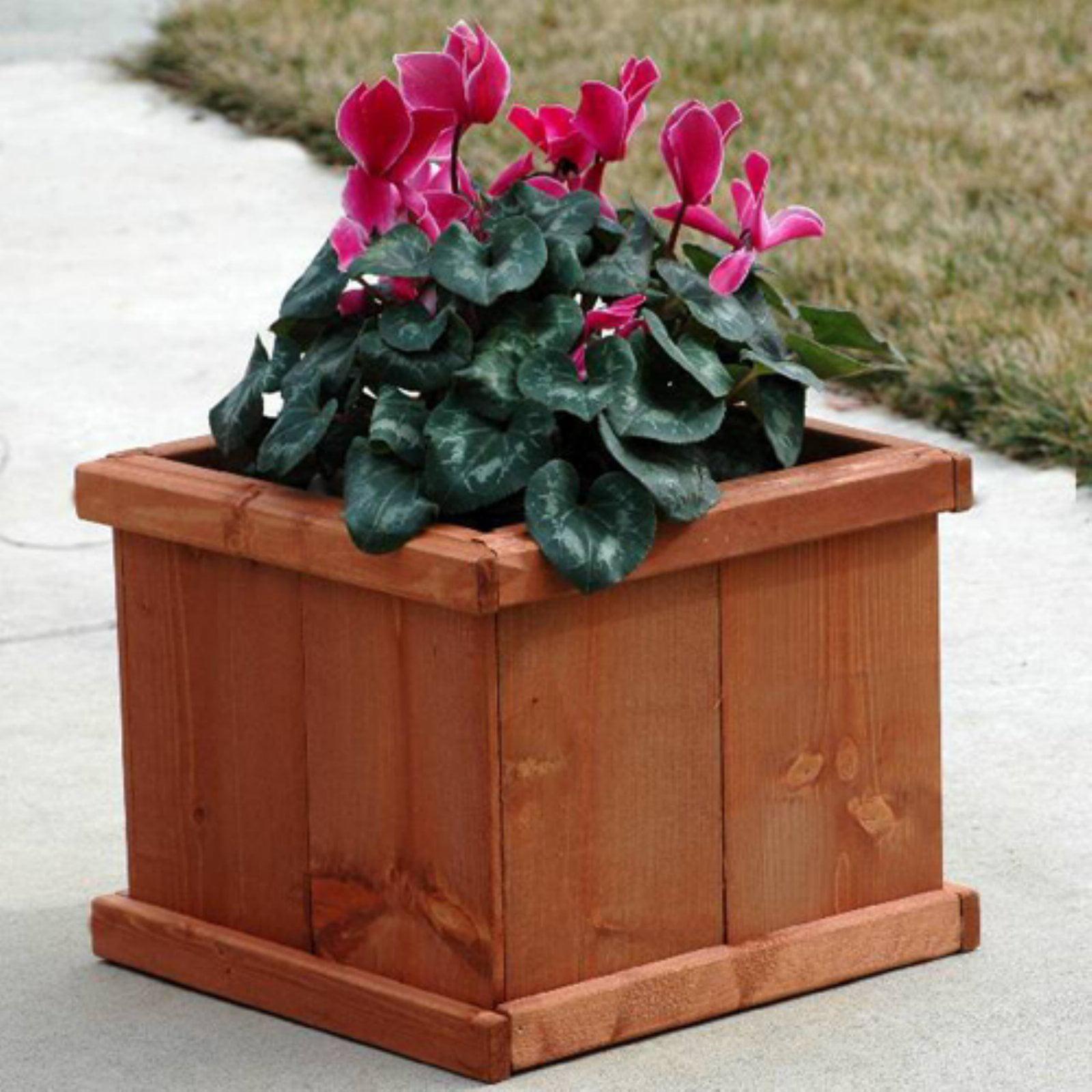 Greenstone Latte Square Cedar Planter - Walmart.com
