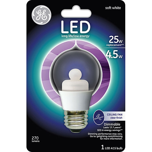 GE 25 watt Equivalent (uses 4.5 watts) Clear A15 Ceiling Fan LED, 1 Pack