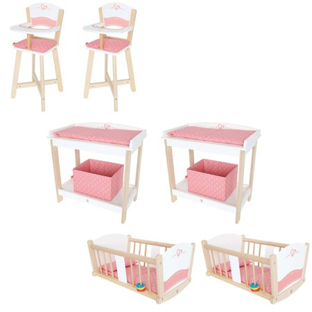 Hape Doll Diaper Changing Table (2 Pack) & Cradle (2 Pack) & Highchair (2 Pack)