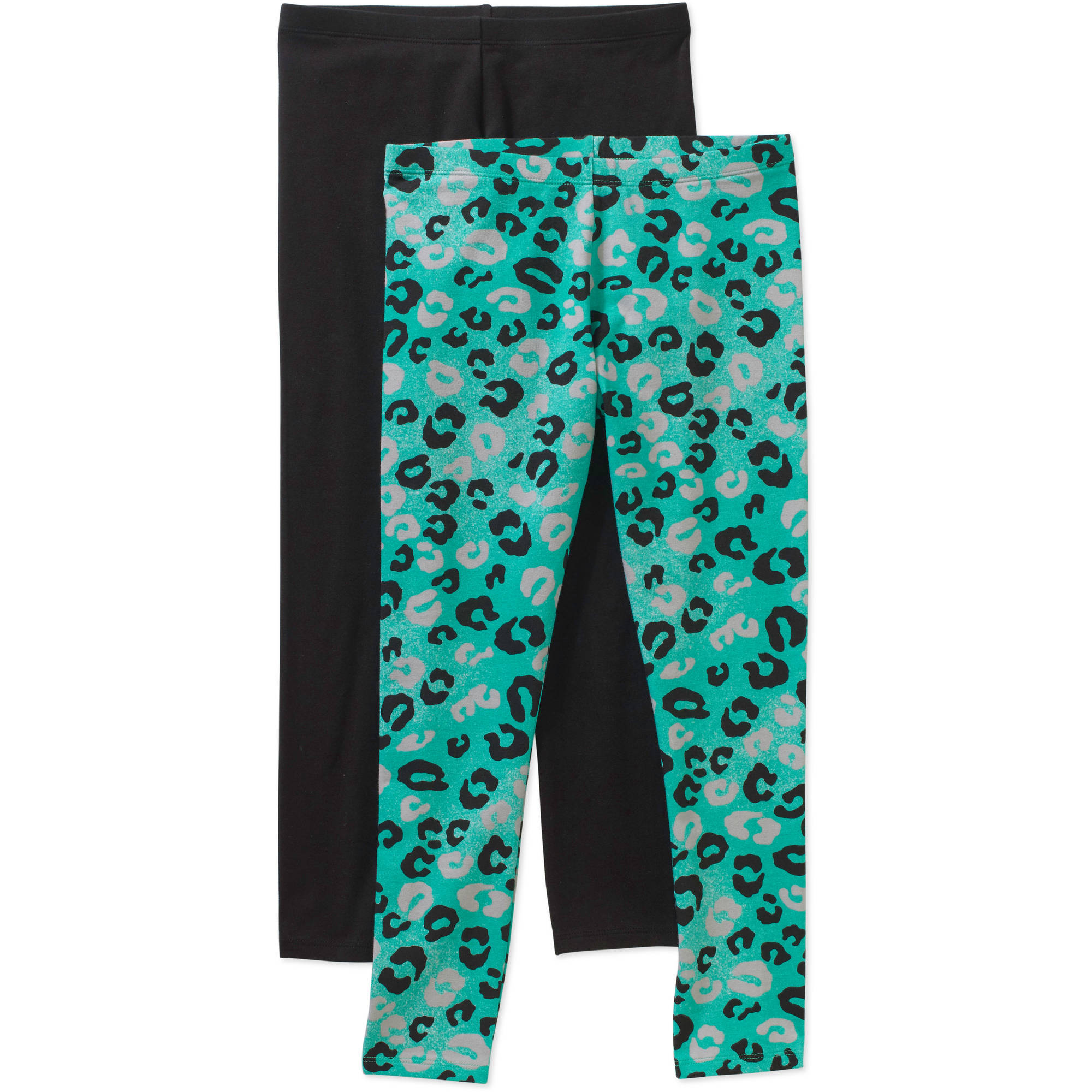Faded Glory Girls' Essential Leggings, 2-Pack