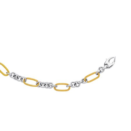 14k Yellow and White Gold Two-Tone Rope Textured Oval Link Chain Necklace, 17 inches 17 Oval Link
