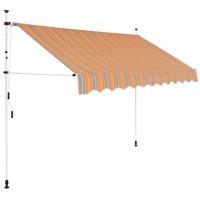 "Moksha Manual Retractable Awning 98.4"" Yellow and Blue Stripes"