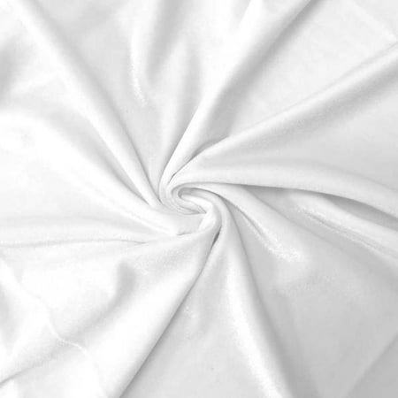Stretch Velvet Fabric 60'' Wide by the Yard for Sewing Apparel Costumes Craft (White) (Ponte Stretch Fabric)