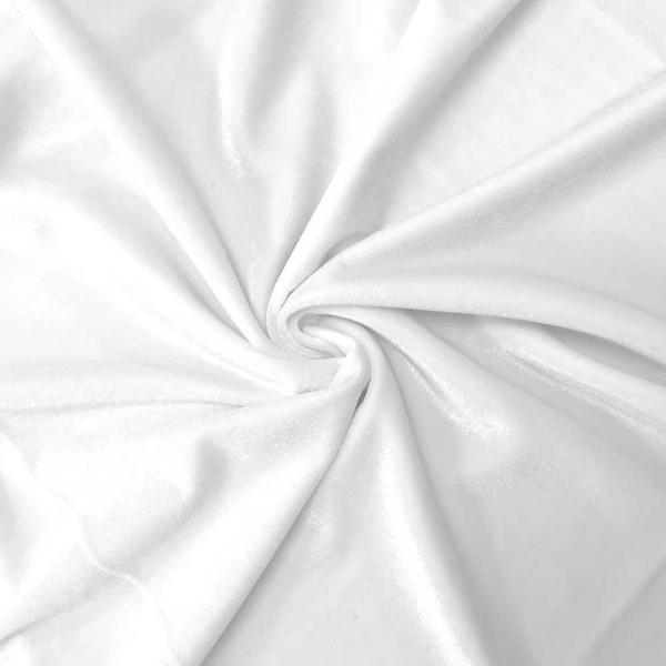 Stretch Velvet Fabric 60'' Wide by the Yard for Sewing Apparel Costumes Craft (White)