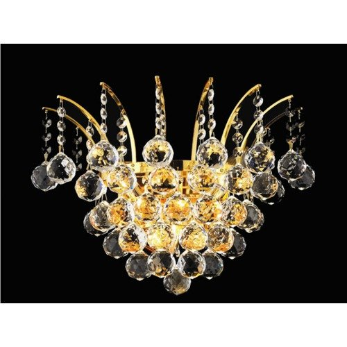 Victoria Clear Crystal Sconce w 3 Lights in Chrome (Royal Cut)