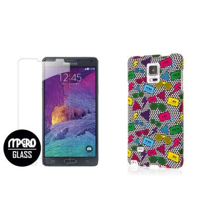 buy popular 0ab90 aa377 Galaxy Note 4 Case + Bubble Free Tempered GLASS Screen Protector Combo,  Neon 90's Hard Case