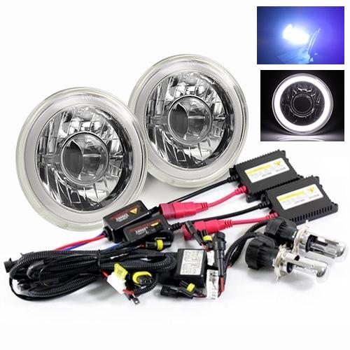 "Modifystreet® 10000K H4-3 Bi-Xenon Hi/Low HID + Hi-Power White LED 3D-Halo Tube H6014/H6015/H6017/H6052/H6024 7"" Round Semi-Sealed Beam Projector Headlights Conversion Kit - Chrome Crystal"