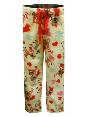 MJC Women's Rudolph Plush Pajama Pants, Red, Size: Small