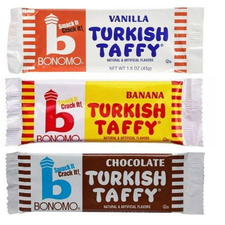 Bonomo Turkish Taffy Candy 3 Flavor 9 Bar Variety Bundle: (3) Bonomo Vanilla Turkish Taffy, (3) Bonomo Chocolate Turkish Taffy, and (3) Bonomo Banana Turkish Taffy, 1.5 Oz. Ea. (9 Bars Total) (Bonomo Turkish Taffy)