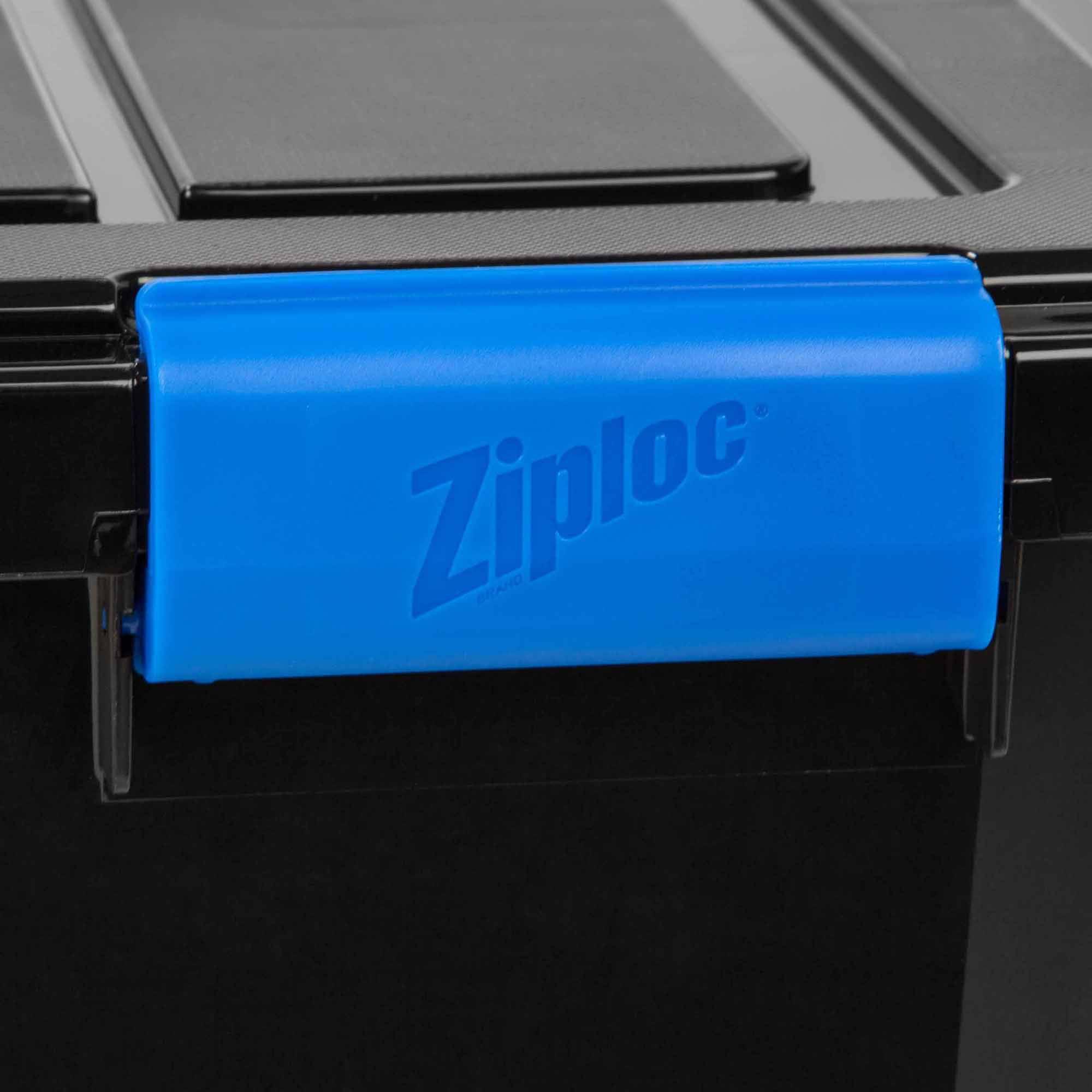 Large Weatherproof Storage Box 60qt Black Latch Lid Bin