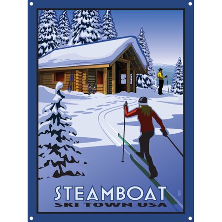 Classic Cross Country Ski - Steamboat Ski Town USA Cross Country Skiers & Cabin Metal Art Print by Paul Leighton (9