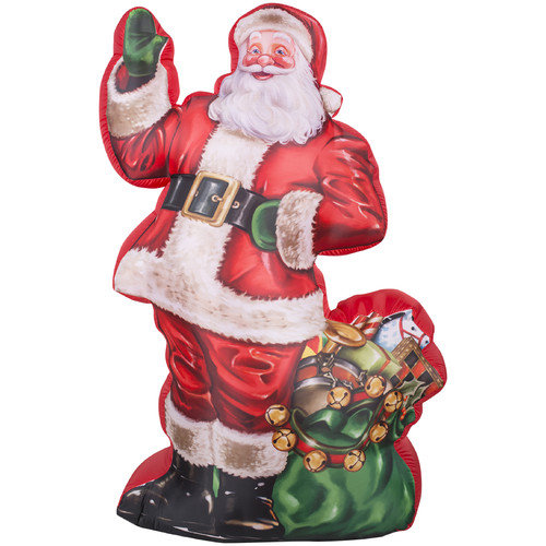 Gemmy Industries Airblown Inflatables Christmas Photorealistic Illustrated Santa Decoration with Gift Bag