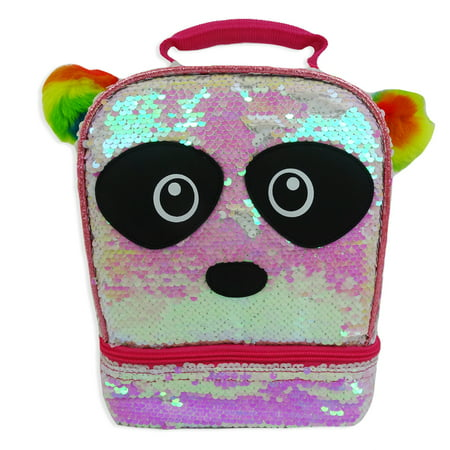 Fast Forward, LLC Two-way Sequin Panda Dual Compartment Lunch Bag (99cod35-w)