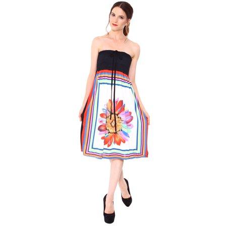 Smocked Tube Dress W/ Bold Multi-Colored Border Print, Ivory, M Border Print Dress