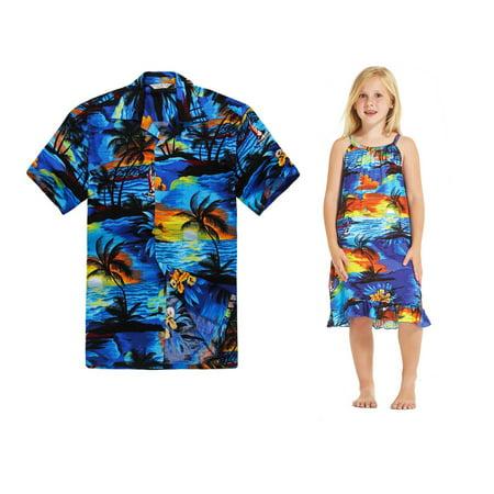 Matching Father Daughter Hawaiian Dance Luau Shirt Tunic Dress Sunset Blue XL-2](Luau Themed Clothes)
