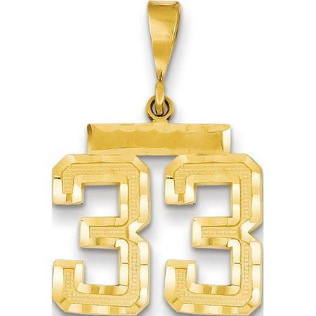 14k Yellow Gold Medium Diamond-cut Number 33 Pendant / Charm - image 1 of 1