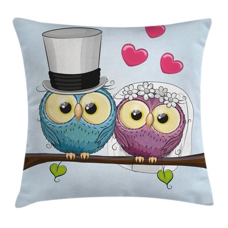 Wedding Decorations Throw Pillow Cushion Cover, Two Cartoon Style Cute Funny Owls Husband Wife Bride and Groom, Decorative Square Accent Pillow Case, 16 X 16 Inches, Purple Blue Pink, by Ambesonne ()