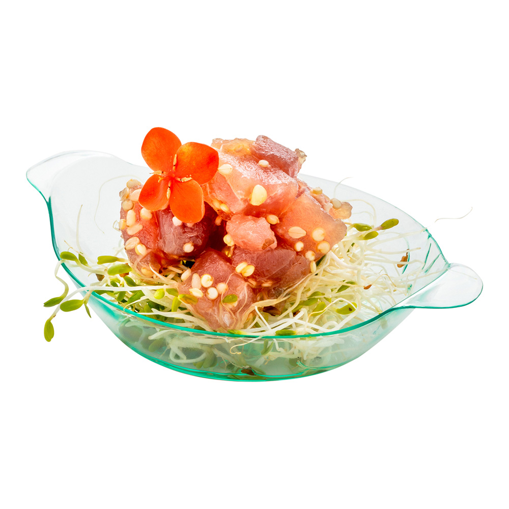 """Mini Handled Plate, Dish with Handles - Seagreen - Premium Plastic - 3.75"""" - Disposable - 100ct Box"""