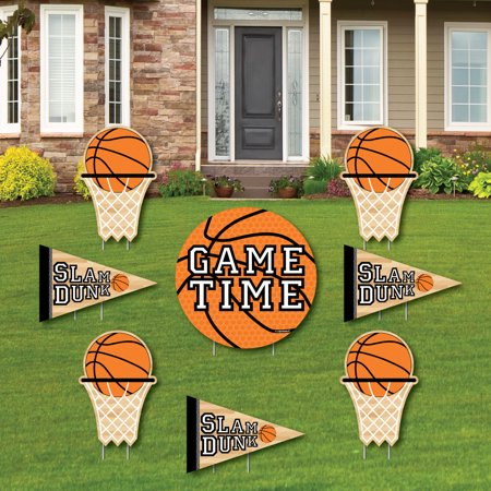 Nothin' But Net - Basketball - Yard Sign & Outdoor Lawn Decorations - Baby Shower or Birthday Party Yard Signs - 8 Ct ()