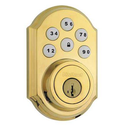 KWIKSET 909 LO3 SMT Electronic Deadbolt Lock, Brass, 6 Button